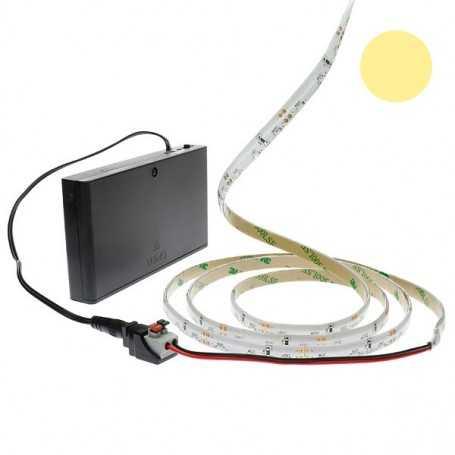 Pack bande led éclairage latéral blanc chaud avec boîtier piles