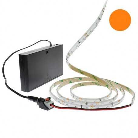Pack bande led éclairage latéral orange avec boîtier piles