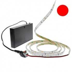 Pack bande led éclairage latéral rouge avec boîtier piles