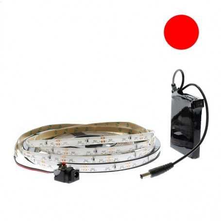 Ruban led side view de 2,5 m rouge étanche et batterie rechargeable
