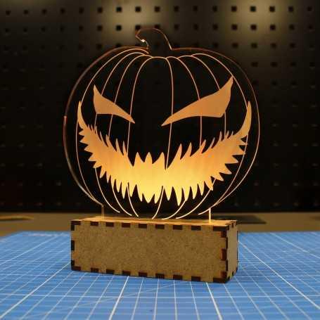 Lampe déco Plexi Citrouille pour Halloween