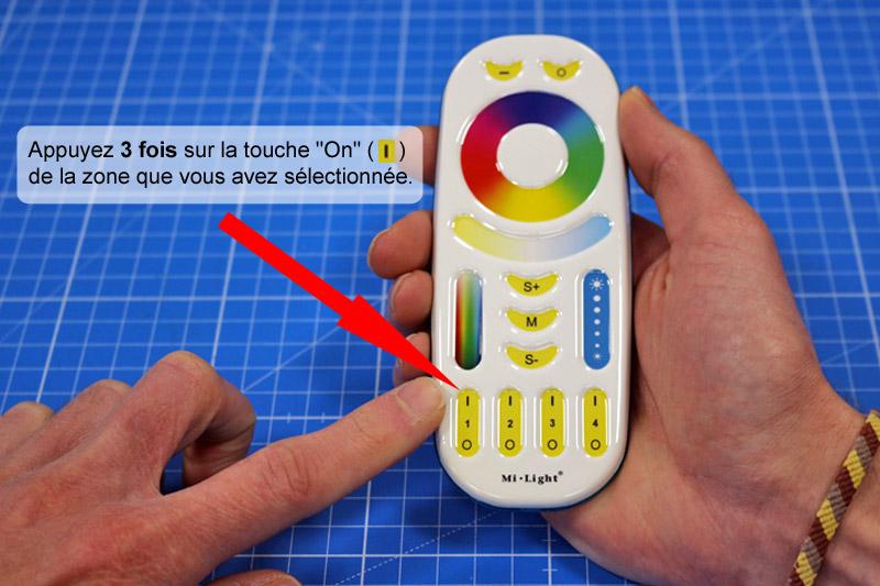 Appairage de la télécommande au contrôleur RGBW