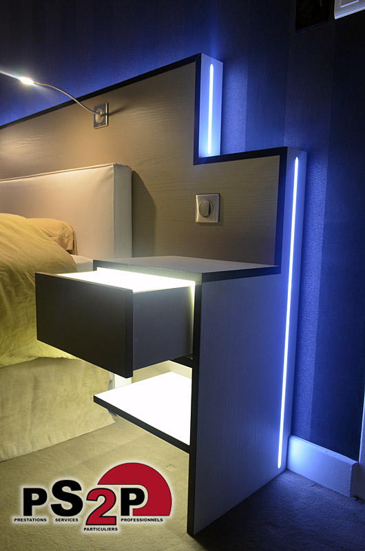 tte de lit lumineuse with led chambre. Black Bedroom Furniture Sets. Home Design Ideas