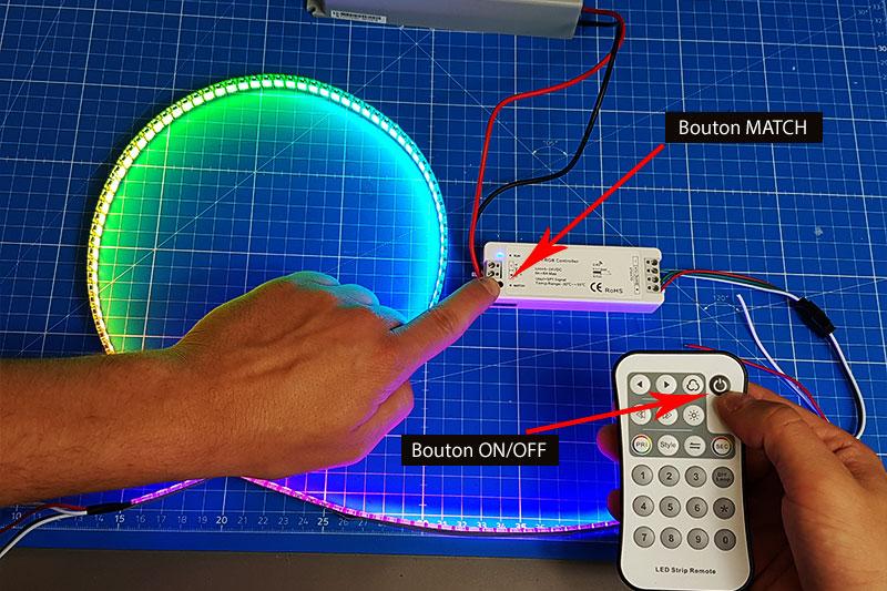 Synchronisation de la télécommande radiofréquence au contrôleur LED Digital